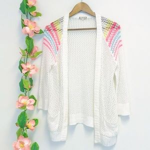 Eyeshadow White Rainbow Trim Cardigan